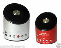 MINI CASSA STEREO PORTATILE USB E SD CON RADIO FM PC TABLET MP3 SMARTPHONE LUCE