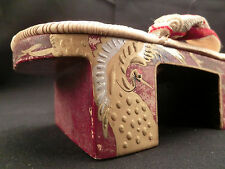 Japanese antique Zori Geta for little girl crane makie no use dead stock maybe