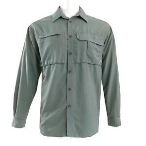 REI Shirt Mens Large Green Nylon Mesh Lined Outdoor Hiking Fishing Long Sleeve