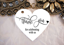 10 White Gift Tags Wedding Favour Bomboniere Thank you for celerating with us