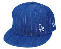 MLB Los Angeles Dodgers New Era 59Fifty Denim Stripe Fitted Hat Cap