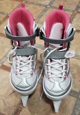 Euc Lake Placid Adjustable Ice Skates Sizes 6-7-8-9 Youth Pink White Hockey