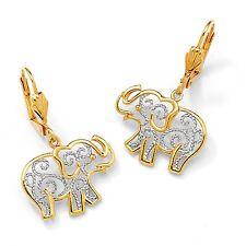 PalmBeach Jewelry 18k Gold-Plated Two-Tone Filigree Elephant Drop Earrings