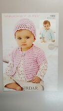 Sirdar Crochet Pattern #1900 Girl's Cardigan & Hat to Crochet in Snuggly 4 Ply