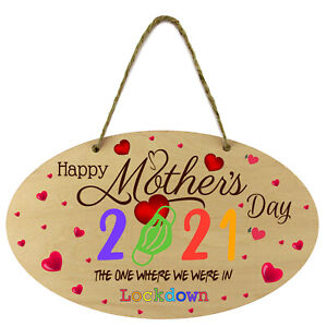 Mothers Day In Lockdown Oval Sign Wooden Plaque Wall Door Hanging Gift Mum