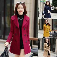Women's Slim Double Breasted Wool Trench Coat Long Jacket Warm Overcoat Outwear