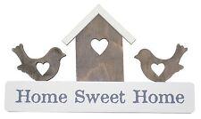 HOME SWEET OISEAUX NICHOIR TENTURE MURALE SIGNE BLANC GRIS BRUN 17CMX30CMX1CM