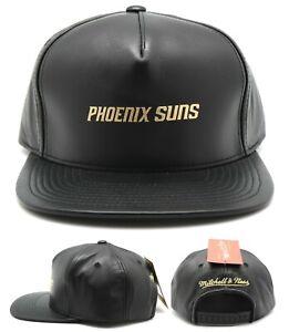 Phoenix Suns New Mitchell & Ness PHX Lambskin Leather Black Snapback Era Hat Cap