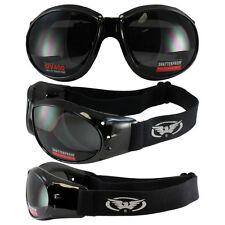 Eliminator Black Frame Motorcycle Goggles w/ Smoke Shatterproof Anti-Fog lenses