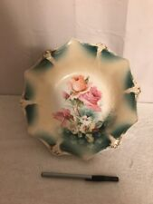 """11"""" Large RS Prussia Pink Roses Porcelain Bowl With Red Stamp"""