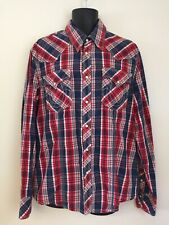 True Religion Mens Red White Blue Plaid L/S Western Pearl Snap Shirt Cotton XXL