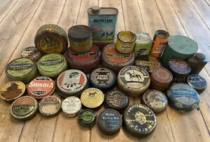 Huge Lot Of Antique Advertising Tins, Salve Shoe Polish Ointment Veterinary