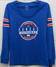 Kansas University Jayhawks Women's Tee Shirt Top Long-Sleeve NCAA Blue M Medium