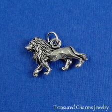 Silver 3D Lion Charm - African Safari Jungle Animal Pendant NEW