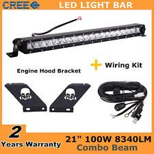 21inch 100W LED Light Bar Slim Ford+Hood Bracket for Jeep Wrangler JK+Wiring Kit