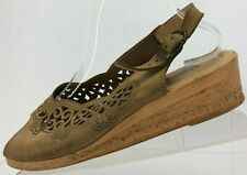 Spring Step Slingback Sandals Cutout Brown Open Toe Wedge Italy Womens 41 US 10