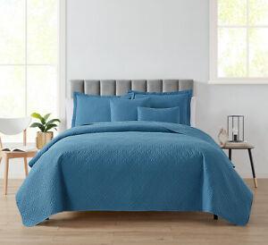 5 Piece Bedspread Coverlet Quilt Set Ultra Soft Lightweight Diamond Weave Design