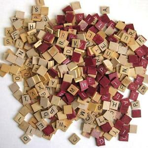 Lot of 444 Ugly Reject Wood Scrabble Tiles Natural and Maroon