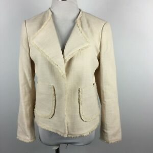 Ann Taylor M Medium Blazer Jacket Cream Ivory Open Front Fringe Half Lined
