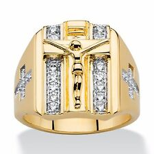 14K GOLD ROUND CZ DOUBLE ROW CRUCIFIX CROSS MENS GP RING SIZE 8 9 10 11 12 13