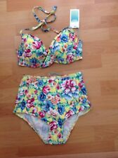 New Look  Floral Bikini Sz 32d 8 Bnwt Beach Pool Island