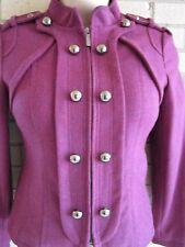Steve Madden LG Military Zip Jacket PLUM Double Breast Epaulets $195 XLNT