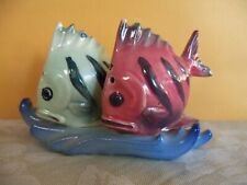 VINTAGE  PINK & GREEN TROPICAL FISH SALT & PEPPER SHAKERS, FROM JAPAN