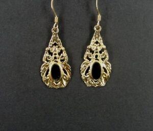 Drop Black Onyx Stones Gold Vermeil Sterling Silver 925 EARRINGS Pierced Dangle