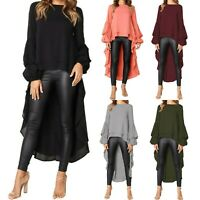 Womens Asymmetrical Ruffle Waterfall Shirt Long Sleeve Tops High Low Plus Blouse