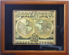 Planisphaerium Terrestre VTG Gold Foil World Map AFTER Adam Zurner Peter Schenk