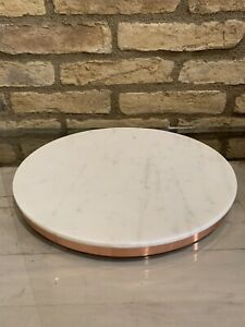 William Sonoma Marble And Copper Round Board Cheese Appetizer Serving Tray New