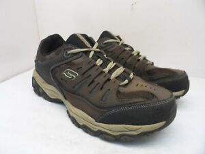 SKECHERS Men's After Burn - Memory Fit Sport Shoes Dark-Brown/Tan Size 13 3E