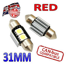 2 x 31mm Festoon Red Canbus LED Number Plate Interior 2 SMD Bulbs 269 Bright