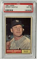1961 TOPPS #300 MICKEY MANTLE PSA 4 VG-EX -  NEW YORK YANKEES HOF