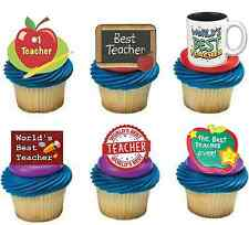 THANK YOU TEACHER STAND UP x30 Edible Cake Toppers D1 PREMIUM END TERM NOVELTY