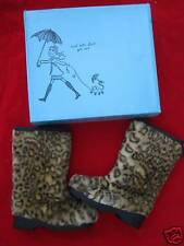 Nos TAMARA HENRIQUES Leopard Winter Snow Boots Vegan Fake Furry Cheetah Sport 37