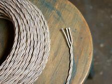 blanc ivoire TORDUE 3-wire chiffon RECOUVERT cordon,18GA Vintage Antique Lumière