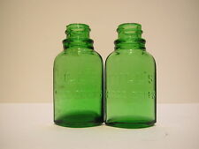 "Vintage Hills embossed 2 green glass nose drop bottles- 2 9/16"" H"