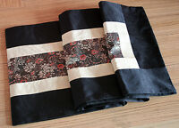 Handmade Black Silk Embroidered Table Runner Tablecloth Wedding Party Decoration