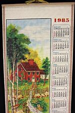 Bamboo Calendar 1985 Prayer House Fence Cat Water Pump Trees Vintage 80s Giftco