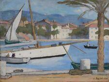 Peinture Bateaux Henry DEZIRE Sanary le grand voilier 1925 art print poster LF2088
