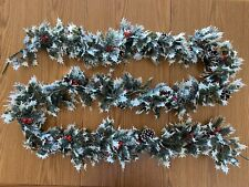 Vintage Christmas Plastic Garland - Flocked Holly w/ Berries And Pinecones 8 Ft