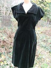 Vintage 40s Black Dress Velvet S Velveteen Cotton Side Zipper GC