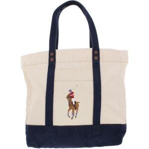 Polo Ralph Lauren Mens Big Pony Ivory Cow Leather Trim Logo Tote Large BHFO 3530
