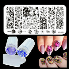 Flowers DIY Nail Stamping Plate Nail Stamp Plate Stamper Scraper Kit Born Pretty