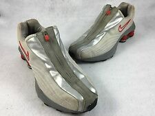 "Vintage 2001 Nike Shox ""R4 Plus"" Gray and Red Running Shoes Men's 7.5 104311"