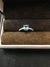 Designer parle Blue Stone .15 Diamonds 14 Kt White Gold Ring