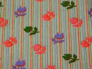 "1 Yard 40"" wd Vintage COTTON Quilt FABRIC Pink Purple Green Floral Stripe Tulip"