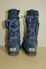 Authentic Ugg Heirloom Lace  Periwinkle Blue  Lavender Corset Lace Up Boots ~  7