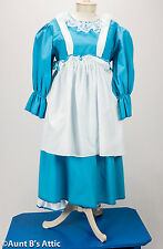 Baby Doll Costume Ladies 3 Piece Turquoise & White Dress Bloomers Apron Lg